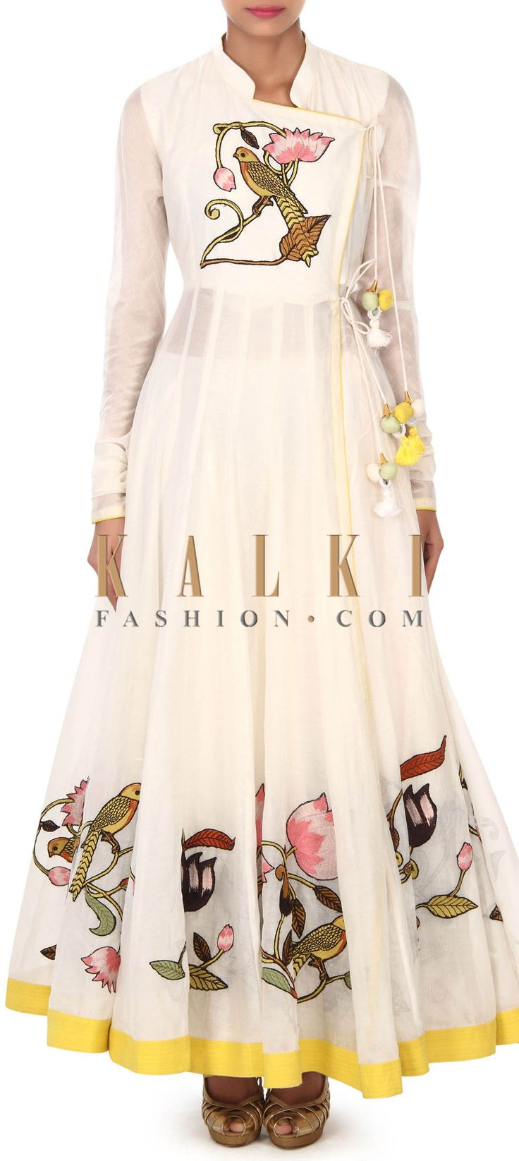 Buy this white anarkali suit in resham embroidered jacket only on Kalki