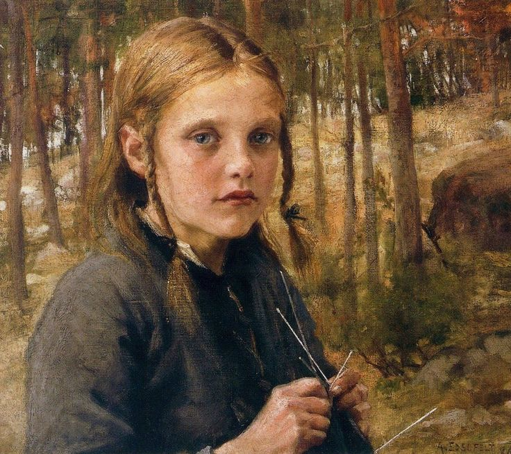 """A Girl Knitting Socks"" by Albert Gustaf Aristides Edelfelt, 1854-1905. Edelfelt was one of the first Finnish artists to achieve international fame. He enjoyed considerable success in Paris and was one of the founders of the Realist art movement in Finland."