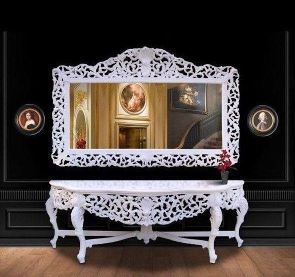 Riesige Casa Padrino Barock Spiegelkonsole Weiß mit weißer Marmorplatte - Luxus Wohnzimmer Möbel Konsole mit Spiegel Konsolen