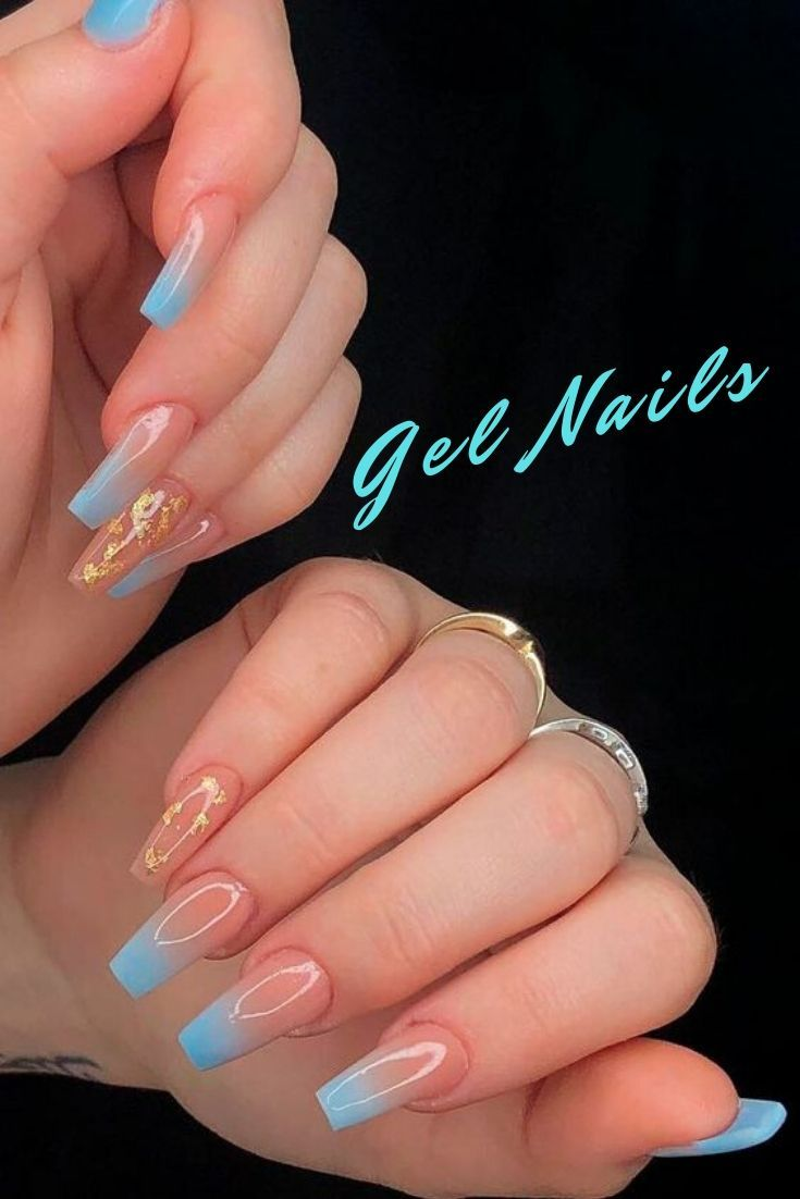 Gel Nails In 2020 Gold Glitter Nails Blue Ombre Nails Ombre Acrylic Nails