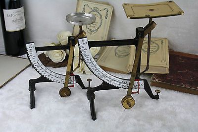 PAIR vintage German Jacob Maul Concav brass postal scales balance weight