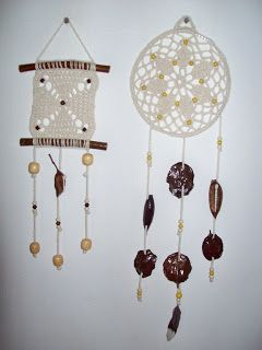 tejido crochet y artesanías: Atrapasueños y colgantes tejidos