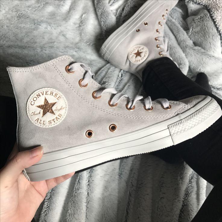 shoes sneakers converse conversesuede rosegold grey suede