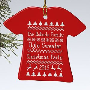 "OMG!!!! It's an ""Ugly Christmas Sweater Party"" Ornament! Or you can have it say anything you want (doesn't have to be ugly sweater party) - you can choose a red or green sweater and add all your own text!!! This is the cutest Christmas ornament ever! #Christmas #UglySweater #Ornament #DIYOrnament"