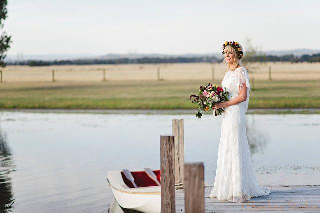 Bohemian | Wedding | Bouquets | Bright colours | trailing foliage | White dress | White bridesmaids | Naomi Rose Floral Design | Flower Crown | Sheehan Studios photography | boat | Lake
