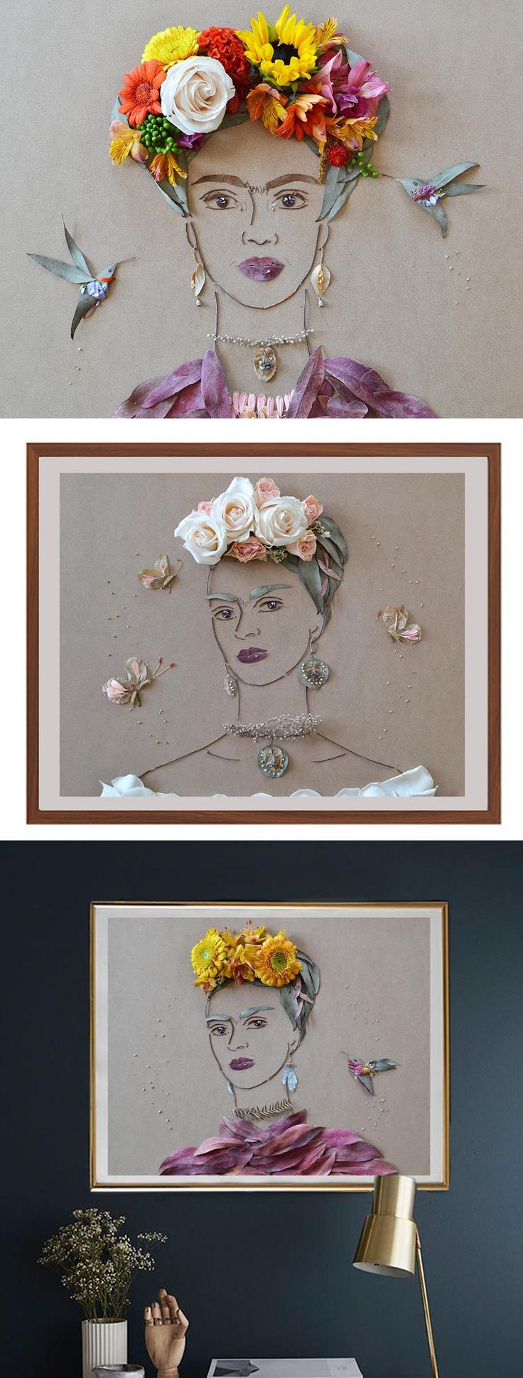 Frida art! Frida Kahlo made completely of flowers and printed in limited edition to brighten your space!