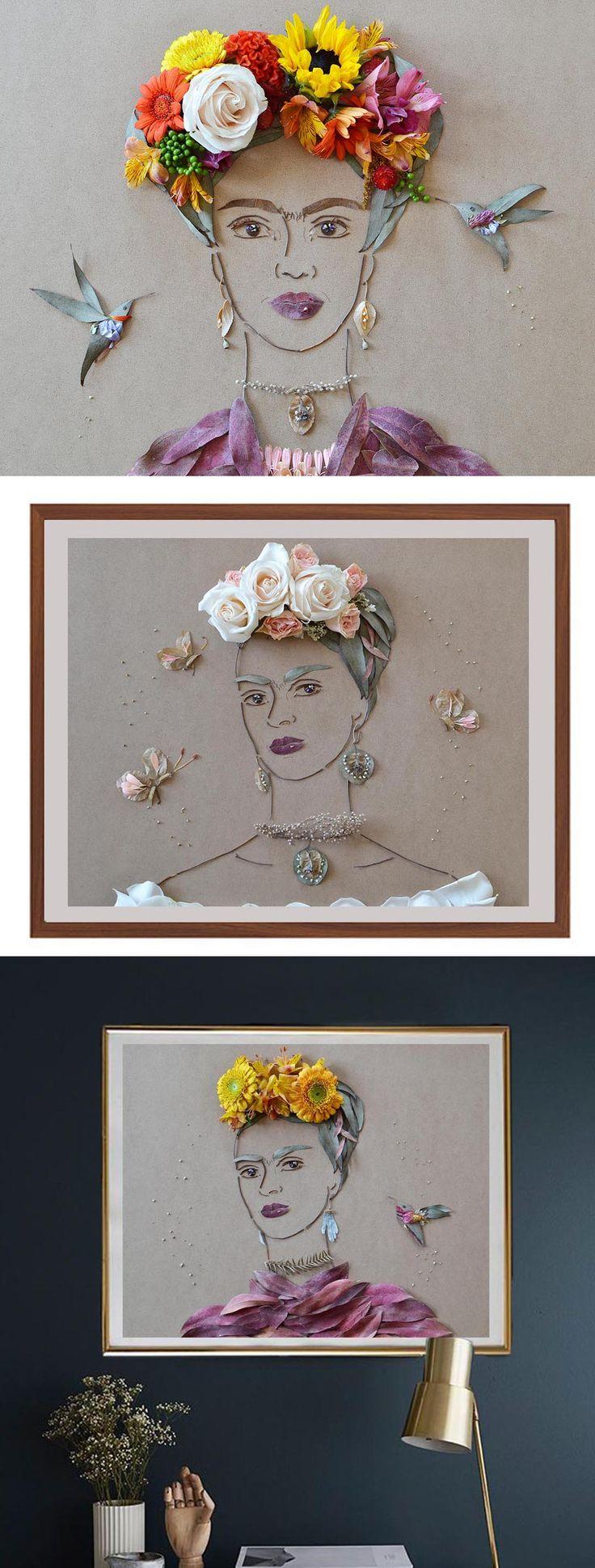 Poner las flores y dibujar solo las cejas. Para el cuarto de Frida                                                                                                                                                     Más