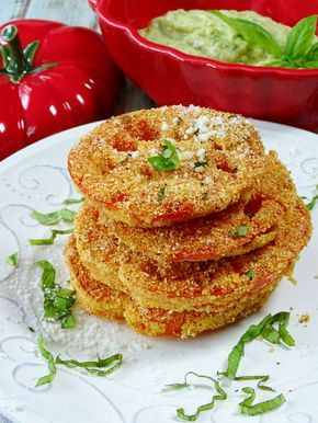 I think I just discovered my new favorite summer indulgence, fried red tomatoes, they're made Italian Style with basil pesto aioli for dipping. Yes, I repeat, fried RED tomatoes. I've had the green version in the past, but I must say I much prefer these so much more, but that's my opinion and you're going …