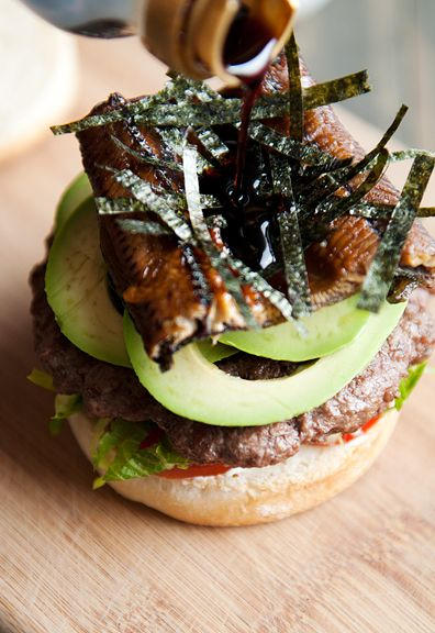 Sushi roll burger-caterpillar roll is made with barbecue eel and avocado....yes please!!!