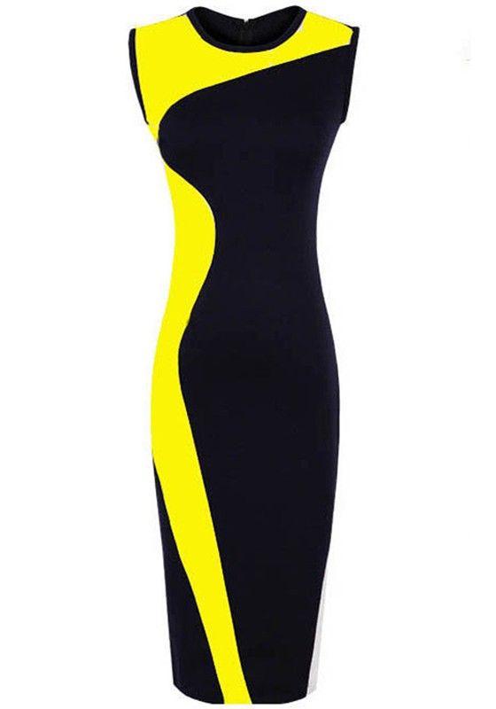 Yellow-black Color Block Wrap Cotton Blend Dress