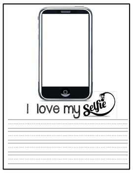 "Bulletin board activity or class book. Great for Valentine's Day or Open House. It can be left on display for an extended period of time! There are 6 different writing paper options allowing for DIFFERENTIATION. Each page reads 'WHAT I LOVE ABOUT MY-SELFIE"" . Students write what they love about themselves! Students can either draw a picture of themselves in the phone template or students can take a ""selfie"" and the picture can be printed and glued into the template!"