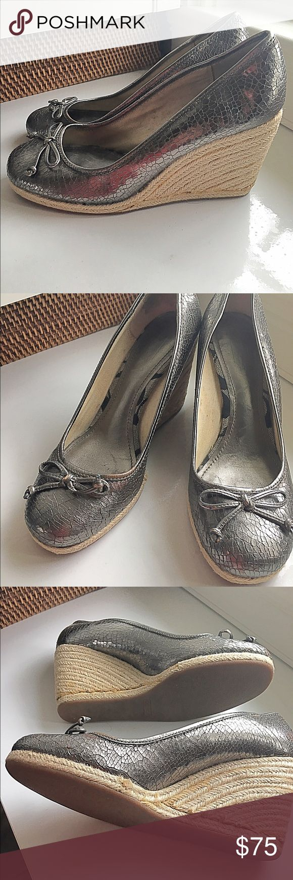 Coach silver espadrilles Fantastic Coach silver espadrilles with crackle leather, comfortable, on-trend and perfect for summer dresses and pants Coach Shoes Espadrilles