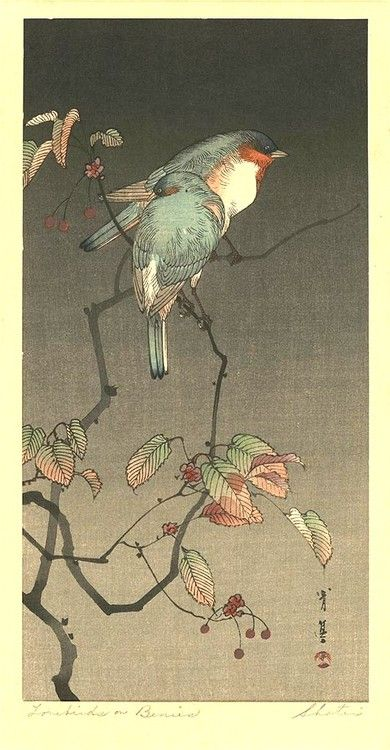 Blue Birds at Night by Seitei (Shotei) Watanabe (1851-1918). http://www.artelino.com/archive/artist_catalog.asp?art=1179 Wikimedia.