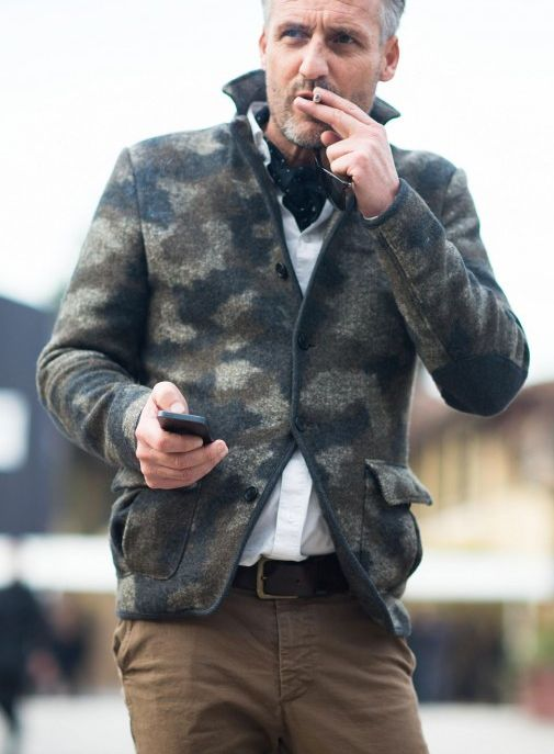 Camo Sweater Jacket and Chinos, Men's Fall Winter Fashion.