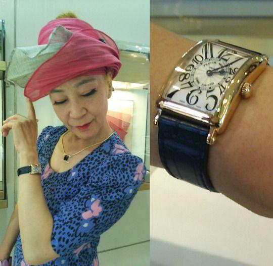 """★濱田様/フランク ミュラー - ロングアイランド ☆いつも誕生日など節目節目に""""自分にご褒美""""で何かを購入するという濱田様。後々お嬢様に受け継ぐにしても、ジュエリーは着けないから今回は時計がいいかな…と思っていたところで「この時計に呼ばれたの!」と購入。まさに運命の時計だとか★  〝人生の節目に腕時計を〟"""
