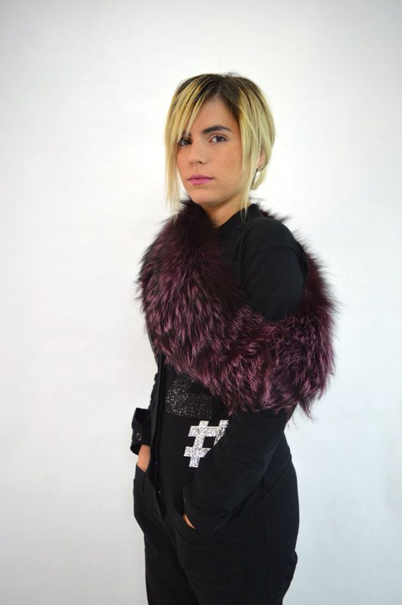 Real fur collar burgundy fox collar black and pink fox by BeFur