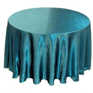 Round Teal Tablecloths Satin