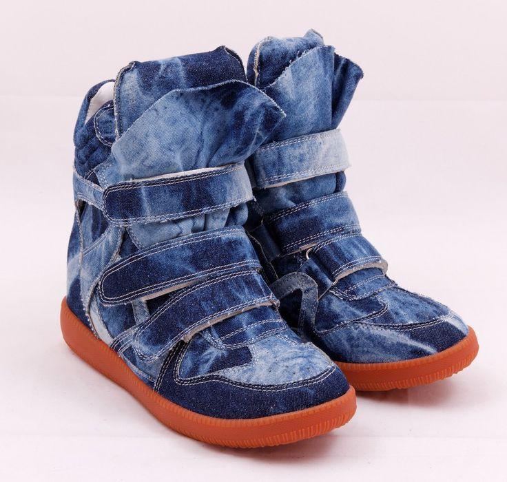 Кроссовки Isabel Marant Sneakers, внутри натуральная кожа, качественная каучуковая подошва, отделка из джинсовой ткани. Каблук 6см #19657