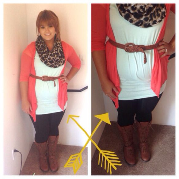 Cute outfit- Pinkish sweater, white shirt, leopard scarf, belt, jeans/leggings and boots