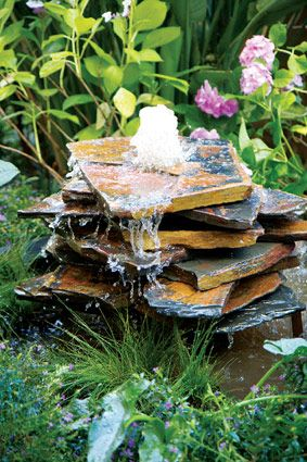 Slate water feature DIY: http://kb.thegardener.co.za/article/slate-water-feature-diy.html