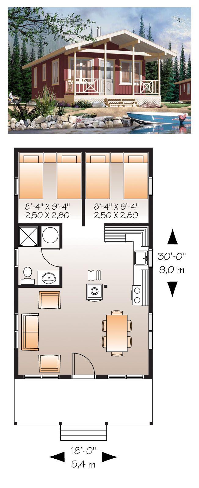 Tiny Micro House Plan 76167 | Total Living Area: 540 sq. ft., 1 bedroom & 1 bathroom. #houseplan #tinyhouse