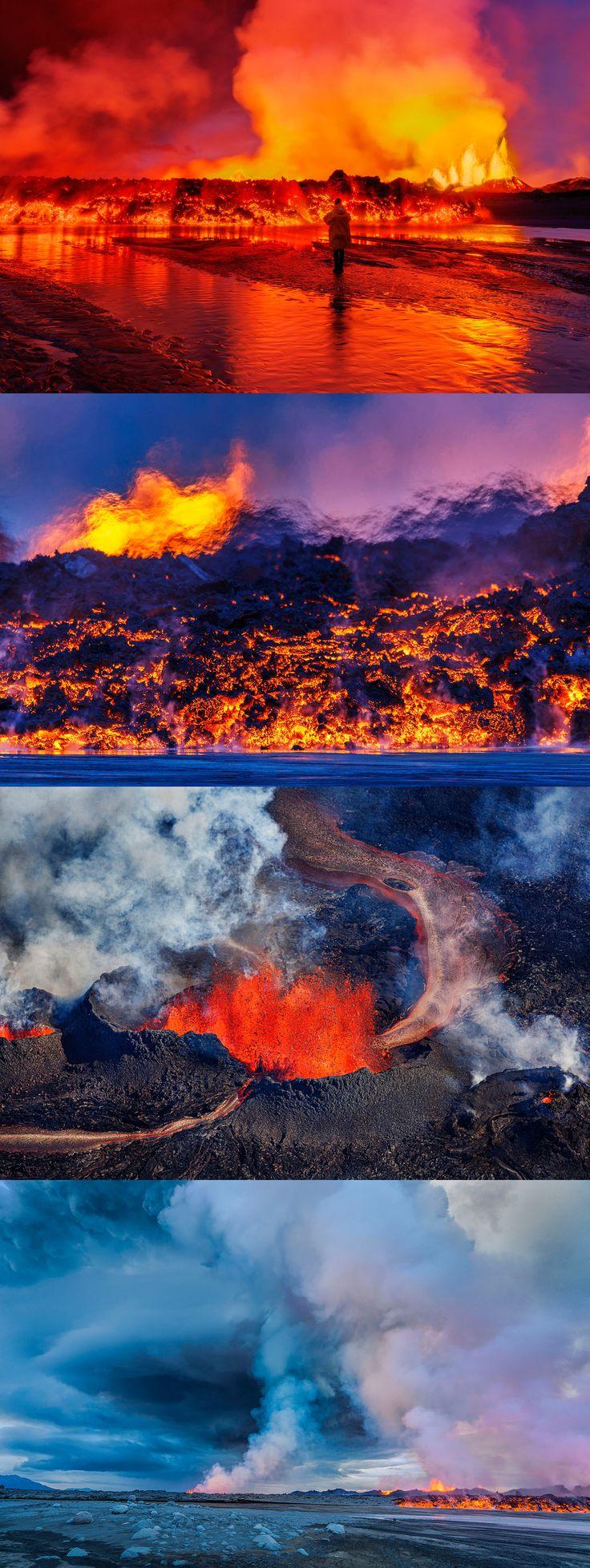 Photos of Iceland's Bardabunga volcano erupting.