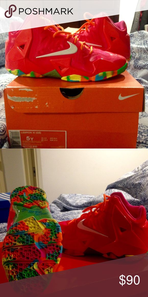 Lebron fruity pebble sneakers 9/10. Small dye damage from jeans on left inner heel. Nike Shoes Sneakers