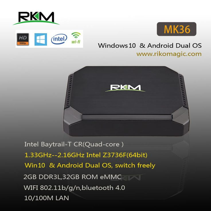 Find More Set-top Boxes Information about RKM MK36 Win10 & Android 4.4 Dual OS Quad Core TV Box 2GB RAM,32GB ROM eMMC WIFI 802.11b/g/n Bluetooth4.0[MK36],High Quality tv set top box,China tv shipping box Suppliers, Cheap tv box hdtv from Rikomagic MK802 family Store on Aliexpress.com