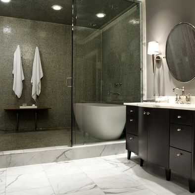 example of stand alone tub in shower - but without full glass