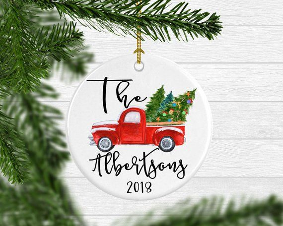 Personalized Family Christmas Ornament Vintage Truck Christmas