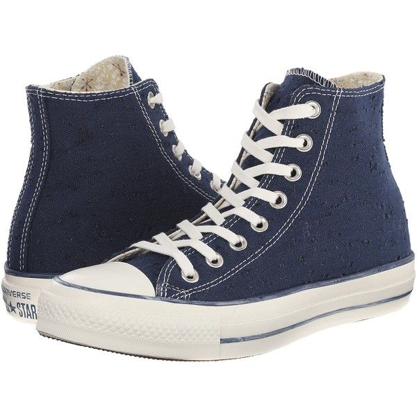 Converse Chuck Taylor All Star Sparkle Lurex Hi Women's Shoes, Navy found on Polyvore featuring shoes, sneakers, converse, blue, sapatos, navy, converse high tops, navy shoes, converse sneakers and blue sparkle shoes