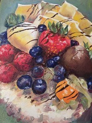 Cheese cake. Fruit. Art. Oil painting.