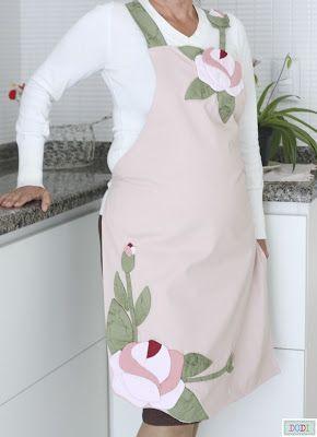 As artes da Vovó Dodi: Avental de tecido - Ponta de agulha