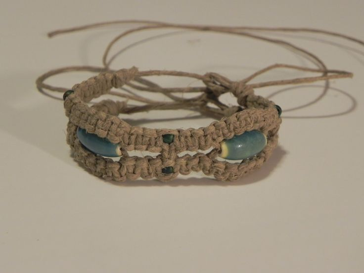 Aqua Wave Hemp Bracelet by TreasuresFromTheWood on Etsy