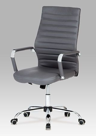 KA-Z615 GREY Kancelářská židle, koženka šedá, chrom, houpací mechanismus, nosnost 110 kg.
