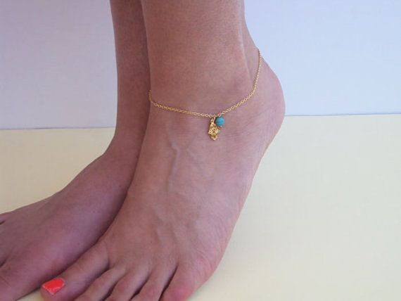 Hamsa Anklet Gold Hamsa Hand Turquoise by VasiaAccessories on Etsy