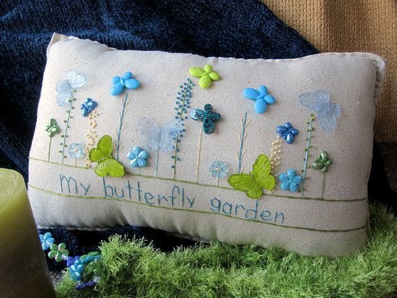 My Butterfly Garden Pillow Cottage Style