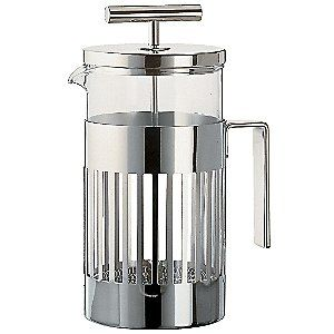 The Aldo Rossi 8 Cup French Press Coffee Maker, by Alessi, a 2005 Aldo Rossi design, is a great gift for Java lovers young and old. A word of caution: Once you try French Press coffee, you may never turn back. This stylish French Press Coffee Maker is made of heat resistant glass and stainless steel.The stylish and fun items offered are the result of contemporary partnerships with some of the world's best designers of unique and modern home accessories