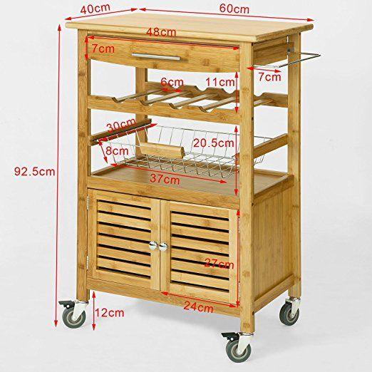 Amazing SoBuy Servierwagen aus hochwertigem Bambus K chenwagen K chenregal BxTxHcm FKW N