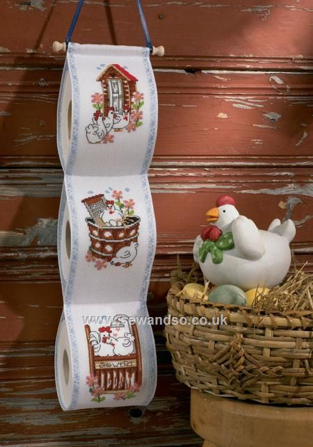 Buy Chicken Antics Toilet Roll Holder Cross Stitch Kit Online at…