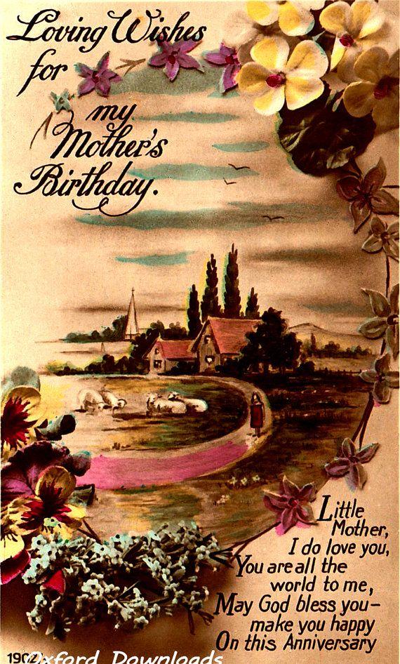 Happy Birthday Mother Card Vintage Print by OxfordDownloads https://www.etsy.com/uk/listing/273308912/happy-birthday-mother-card-vintage-print?utm_source=Pinterest&utm_medium=PageTools&utm_campaign=Share