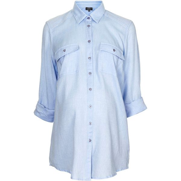 TOPSHOP Maternity Chambray Shirt (120 BRL) ❤ liked on Polyvore featuring maternity, tops, maternity clothes, baby, maternité and blue