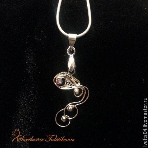 """Кулон """"Золотая рыбка"""" с фианитами. filigree jewelry"""