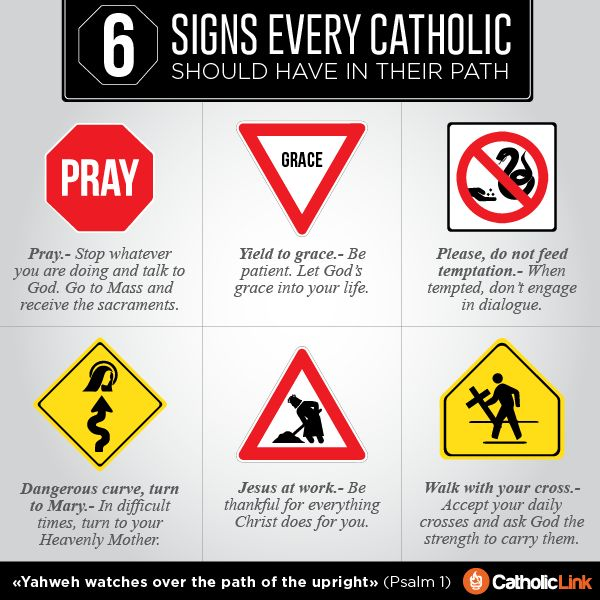 Excelente! Las señales preventivas en la carretera de un #católico Catholic-Link's Library - Infographic: 6 signs every #Catholic should have in...