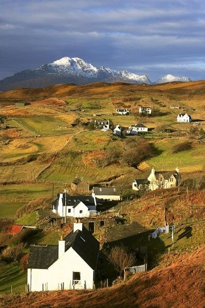 Love the green countryside then off in the distance you have a snowy mountain..beautiful Isle of Skye, Scotland