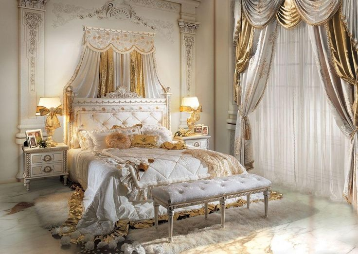 Luxurious Bedroom Ideas With Classic Glamour Style With White Gold Duvet  Cover And Curtain Set As Well White Furry Rug On Floor Beside Benches  Outsized ...