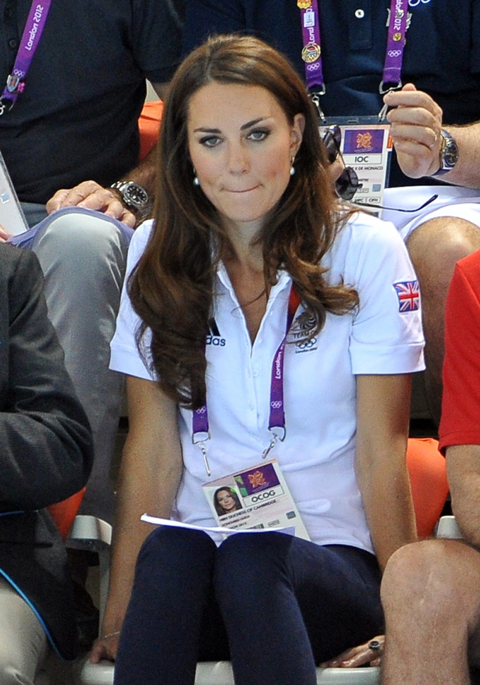 Duchess of Cambridge watches Synchronised Swimming on Day 13 of the London 2012 Olympic Games at the Aquatics Centre on August 9, 2012 in London, England.