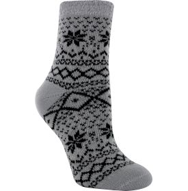 Curl up in front of the fire in the Yaktrax Women's Cozy Cabin Nortic Crew Sock. Tired feet get the royal treatment with this aloe infused sock, which soothes and rejuvenates sore muscles. The cozy material keeps feet warm and toasty, perfect for when the temperature drops. Slip these on after a long day on your feet for some extra TLC. With fashionable colors and patterns, the Cozy Cabin sock from Yaktrax is sure to become a wardrobe staple.