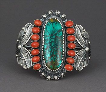Silver, Turquoise & Coral Bracelet by Kirk Smith (Navajo)