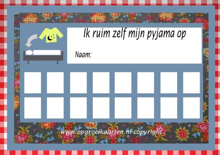 Kinderen aanleren om hun pyjama op te ruimen? Deze mooie beloningskaart kan misschien helpen!